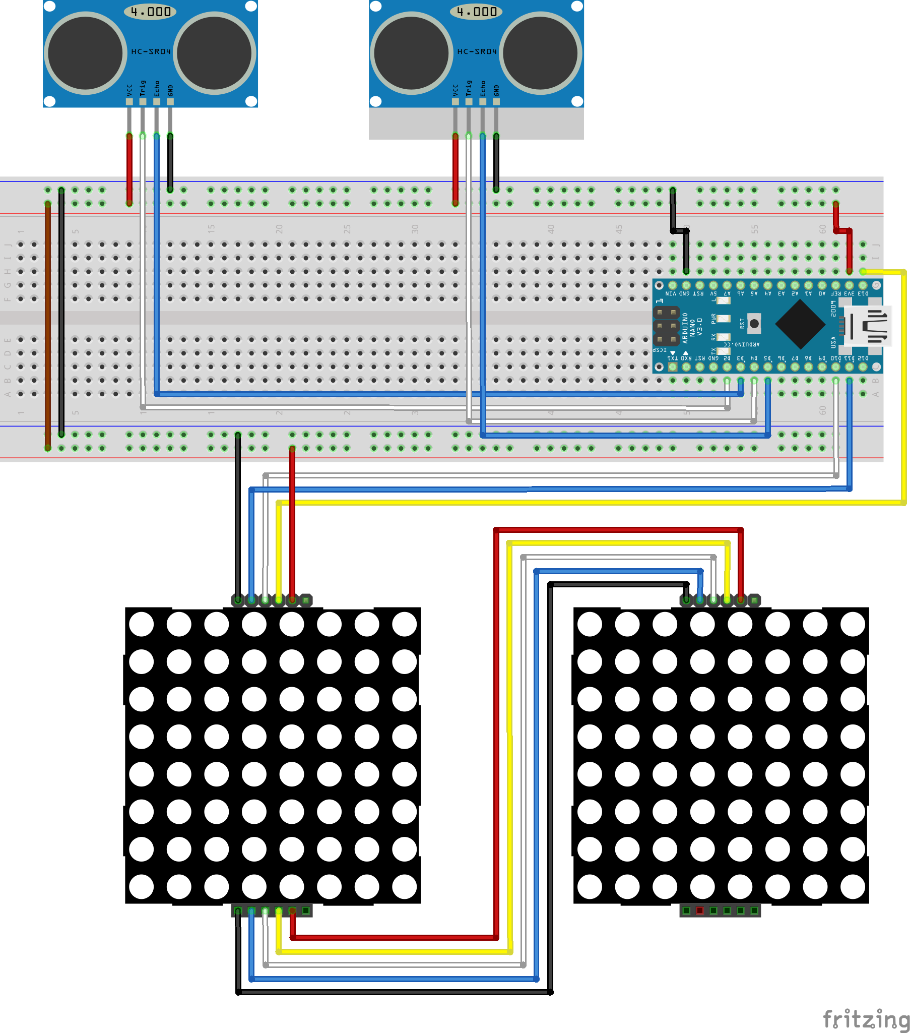 Ultrasonic Eyes 3 Steps Led Circuit On Breadboard Pumpkin Candles For Colorful Halloween Connect A Black Wire Between The Outgoing Gnd Pin Of Display One And Incoming Two Do Same With Red Vcc